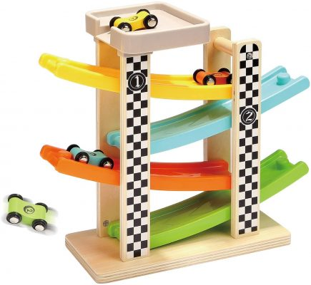 Top Bright Wooden Race Track Car Ramp Racer