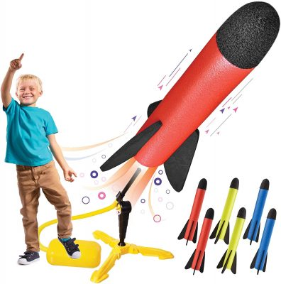 Toy Rocket Launcher With Foot-Powered Launch Pad